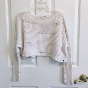 Volcom Off White Ripped Crop Sweater